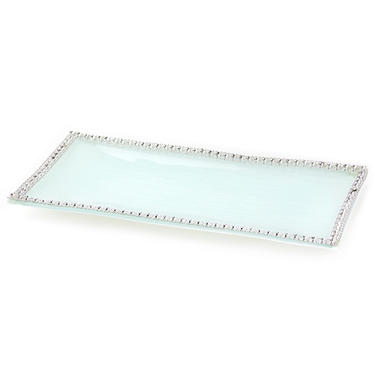 Baby Boy Silver Trim Glass Tray