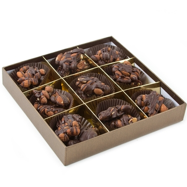 Dark Chocolate Caramelized Almond Clusters