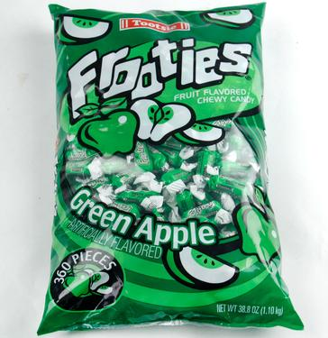 Green Tootsie Roll Frooties Taffy Candy - Green Apple