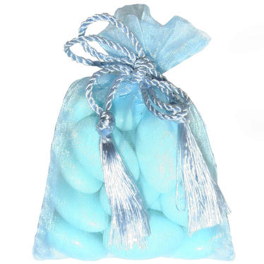 Baby Blue Mesh Party Bags - 12 pk
