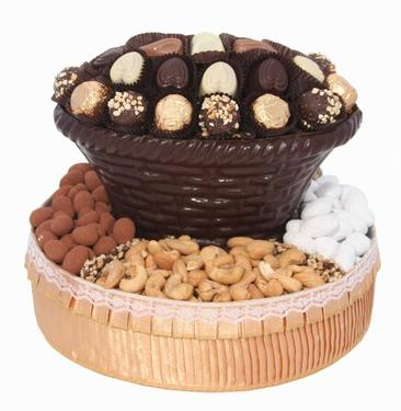 Round Dark Chocolate & Nut Gift Basket