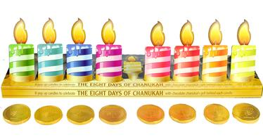 Chanukah Chocolate Gelt Menorah - Front