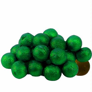 Dark Green Foiled Milk Chocolate Balls