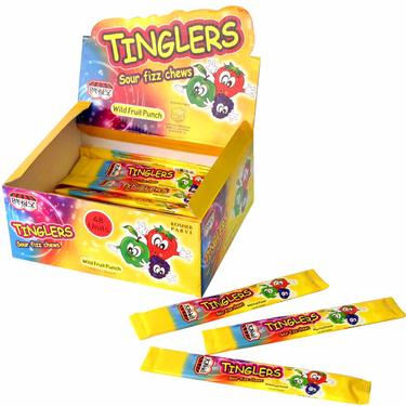 Tinglers Fruit Punch Sour Fizz Chews - 48CT