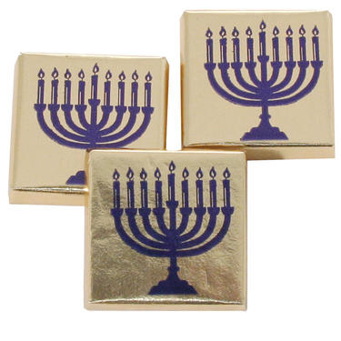 Hanukkah Chocolate Squares - Menorah