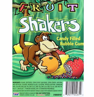 Fruit Shakers Candy Filled Bubble Gum