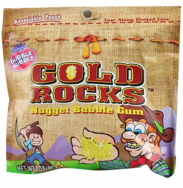 Gold Rocks Nugget Bubble Gum Packs