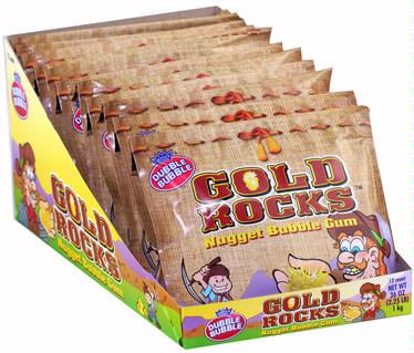 Gold Rocks Nugget Bubble Gum Packs - 12CT Box