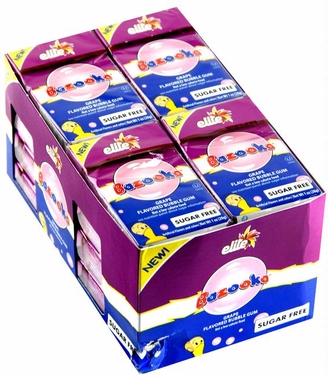 Passover Elite Bazooka Sugar Free Gum - Grape - 18CT Box