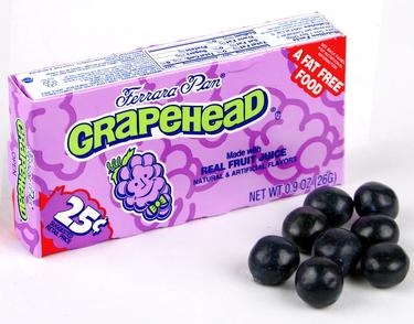 Grapeheads Mini Candy Balls - Unwrapped