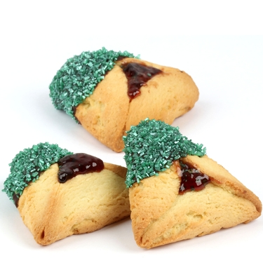 Emerald Green Sprinkled Chocolate Dipped Hamantashen - 8CT Box