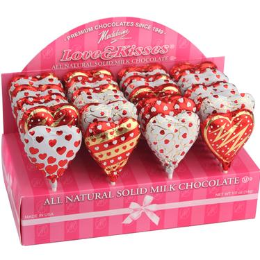 Milk Chocolate Heart Lollipops - 40CT Box