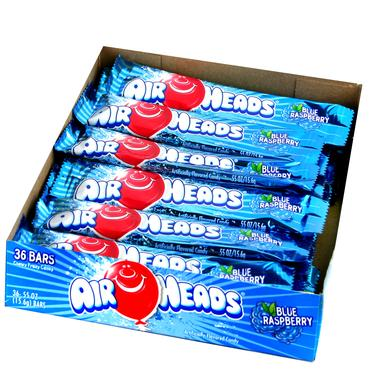 Blue Raspberry AirHeads Taffy Candy Bars - 36CT Case