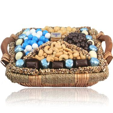 Israel Hanukkah Chocolate Wicker Basket