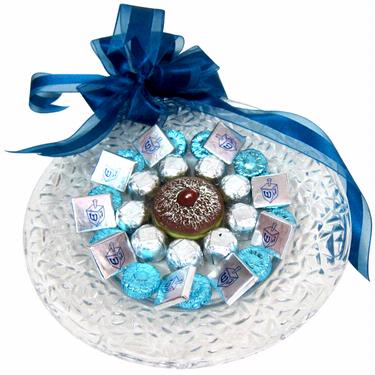 Israel Hanukkah Chocolate Glass Charger