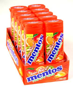 Mentos Juicy Blast Tropical Fruit Filled Gum - 12CT Case