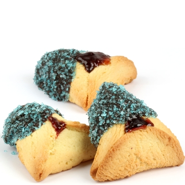 Aqua Blue Sprinkled Chocolate Dipped Hamantashen - 8CT Box