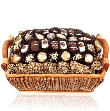 Holiday Chocolate Truffle Wicker Gift Basket