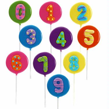 Numbers Hard Candy Lollipops