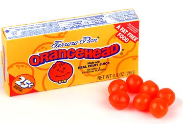 Orangeheads Mini Candy Balls - Unwrapped