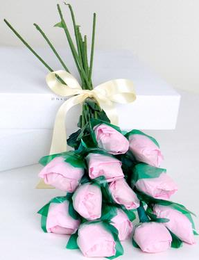 Pink Long-Stemmed Confection Roses - 12-Piece Bunch