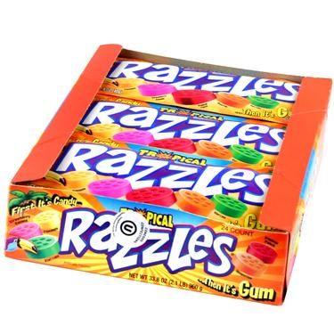 Tropical Razzles Candy Gum - 24CT Case