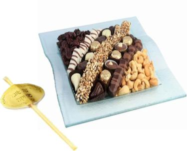 Rosh Hashanah Square Glass Gift Tray
