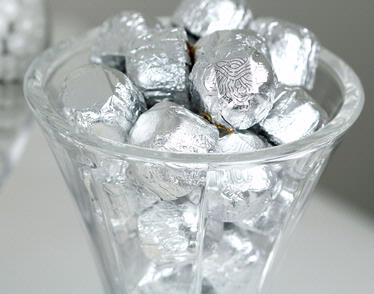 Non-Dairy Silver Foiled Diamond Chocolate Truffles