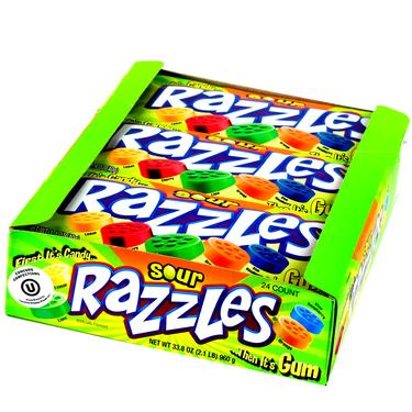 Sour Razzles Candy Gum - 24CT Case