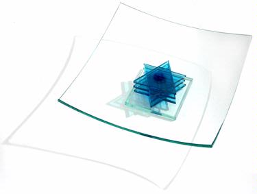 Passover Star of David Square Glass Tray