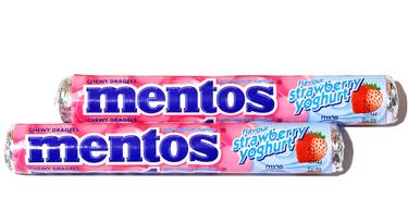 Mentos Strawberry Yogurt Candy Rolls