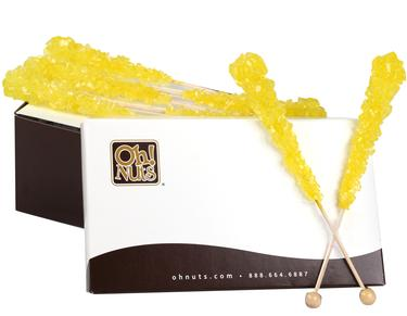 Yellow Rock Candy Crystal Sticks - Lemon