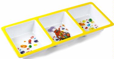 Jelly Belly Yellow 3-Section Melamine Tray