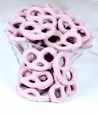 Lavender Yogurt Covered Pretzels - Raspberry