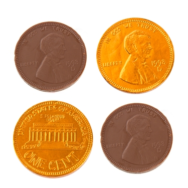 Orange Chocolate US Cent Coins - 1 LB Bag