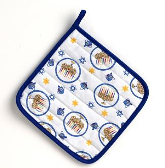 Hanukkah White Pot Holder