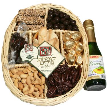 Purim 7 Section Wicker W/Grape Juice