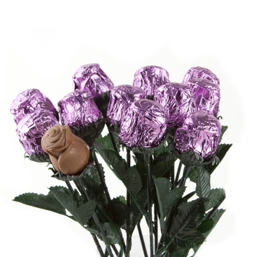 Sweet Heart Chocolate Foiled Roses - Lavender - 48CT