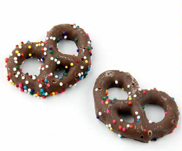 Springtime Nonpareils Chocolate Coated Pretzels