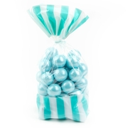 Caribbean Blue Striped Favor Bag - 10CT