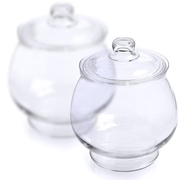Glass Round Candy Jars with Glass Lids - 1/2 Gallon - 2CT Case