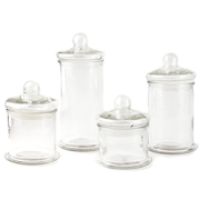 Round Glass Canister 4pc Set with Ball Lid