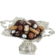 Chocolate Truffle Silver Plated Footed Dish