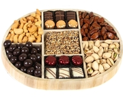Oval 7-Section Nuts & Chocolate Wooden Tray