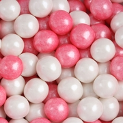 Bright Pink & White Shimmer Pearl Mini Gumballs