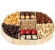 Holiday 7-Section Nuts & Chocolate Wooden Tray