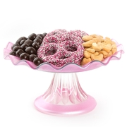 Ruffled Pink Glass Cake Stand