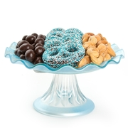Ruffled Blue Glass Cake Stand