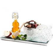 Elegant Crystal Apple Honey Mirrored Tray