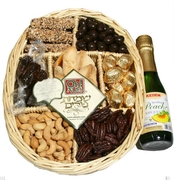 ISRAELI Purim 7-Section Wicker W/Grape Juice